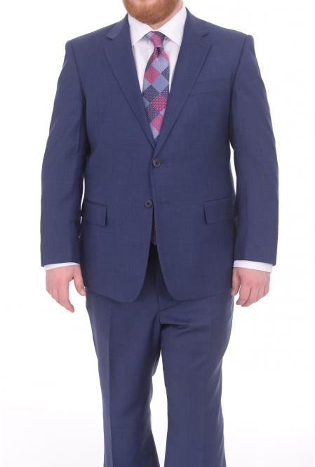 Buy SM4909 Men's Fully Lined Blue Textured Portly Fit 2 Button Super 130's Wool Suit
