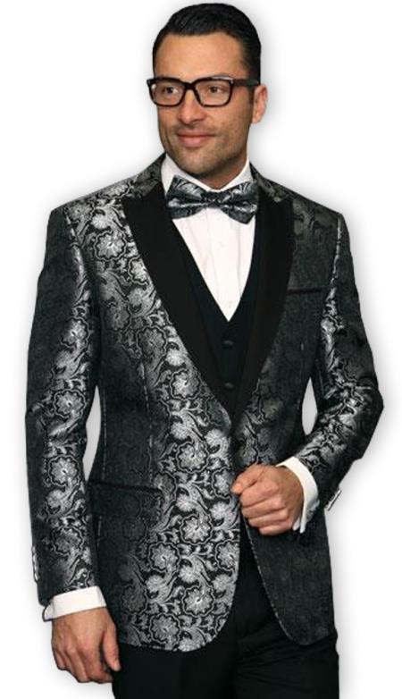 Mens Grey~Gray & Silver Looking Mix with Black Shiny ~ Shiny Paisley Blazer ~ Sport Coat