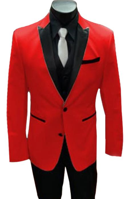 Alberto Nardoni Red Tuxedo and Black Lapel Vested Suit With Black Vest & Pants + Jacket