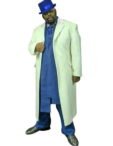 snow White Long Overcoat  ~ Long Mens Dress Topcoat -  Winter coat Single breasted Full length Available in Big And Tall