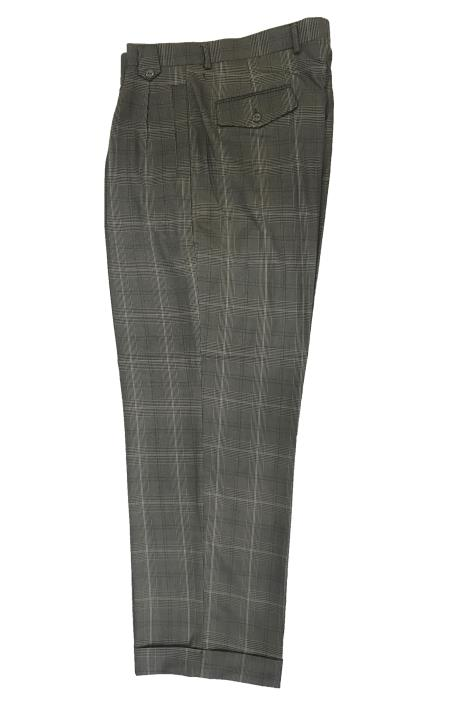 1950s Men's Clothing Wide Leg Slacks  Dress Pants Patter Gray Window Pane  Plaid $75.00 AT vintagedancer.com