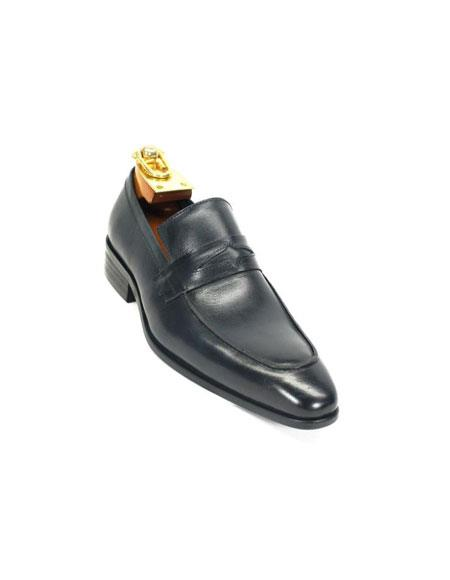 Carrucci Mens Slip On Style Navy Leather Lining Loafer