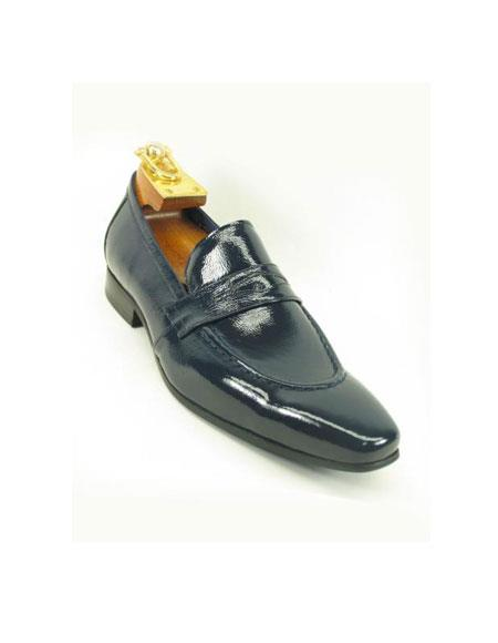 Carrucci Mens Patent Leather Slip On Style Loafer Navy Shoe