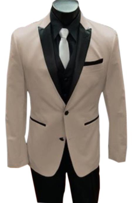 Alberto Nardoni Tan ~ Beige Tuxedo Vested Suit Tan ()