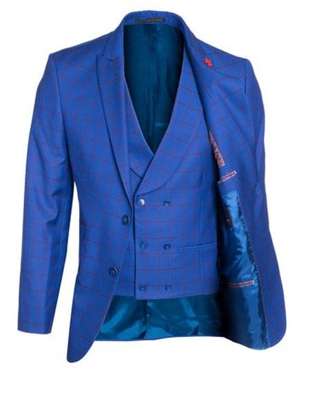 Buy GD1493 Mens 2 Buttons Windowpane ~ Plaid patterned double breasted Vest Peak Lapel Vested Blue 3 Pieces Suit Regular fit pleats