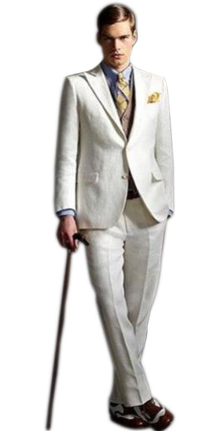 Mens high fashion Off  White Two Buttons Single Breasted suit