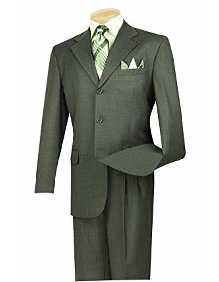 Buy 3RW-15 Mens 3 Buttons Olive plaid ~ window pane pattern pleated pants ~ Three buttons