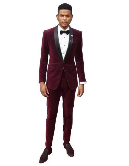Mens Burgundy ~ Wine ~ Maroon Color tuxedo Shawl Black Lapel Velvet wedding party dinner