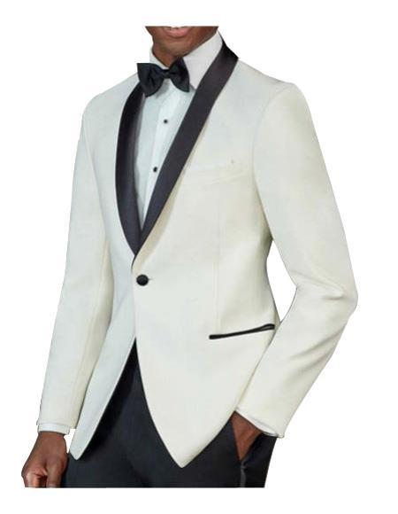 Mens One Button Tuxedo Shawl Black Lapel classy Ivory Suit