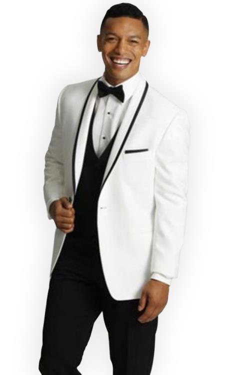 Mens One Button Tuxedo Trimmed Shawl Lapel white Suit