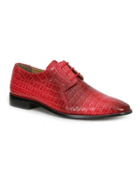 Buy CH2398 Mens mock reptile print red formal dress shoes