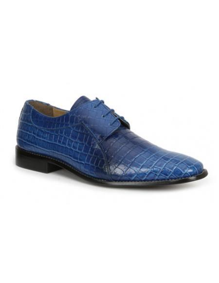 Buy CH2400 Mens mock reptile print formal blue dress shoes