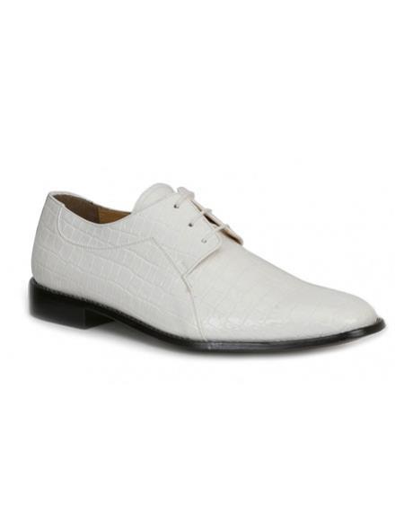 Buy CH2401 Mens mock reptile print White formal dress shoes