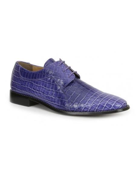 CH2402 Mens Purple mock reptile print formal dress shoes
