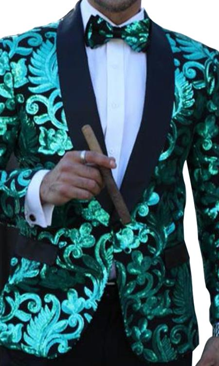 Mens Floral Designed Black Shawl Lapel Green Sequin Tuxedo