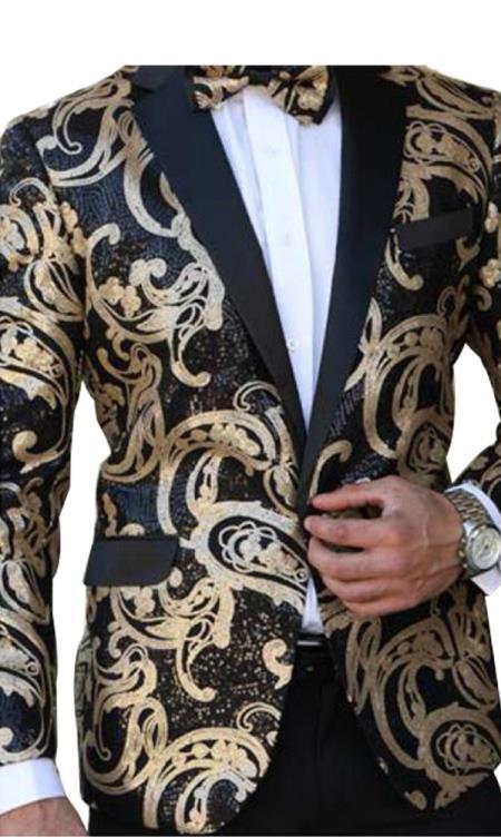Buy E-135 Mens Paisley Designed Black Notch Lapel Gold~Black tuxedo dinner jacket