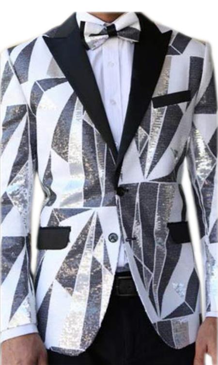 Buy E-136 Mens Fancy Designed Black Peak Lapel White~Black tuxedo dinner jacket