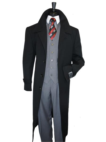 Mens Single Breasted 1 Wool Jet Black Overcoat