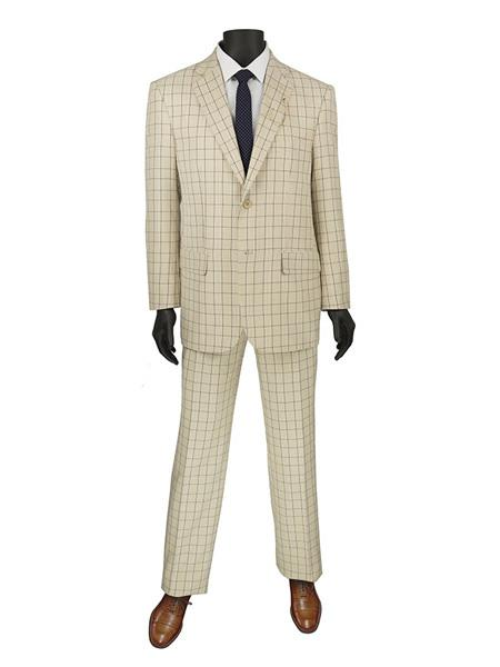 1970s Men's Suits History | Sport Coats & Tuxedos Mens Plaid  Window Suit 2 Button Suit Beige $140.00 AT vintagedancer.com