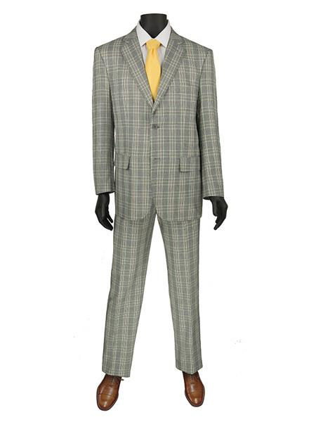 1970s Men's Suits History | Sport Coats & Tuxedos Mens Plaid  Window Suit 2 Button Suit Grey $140.00 AT vintagedancer.com