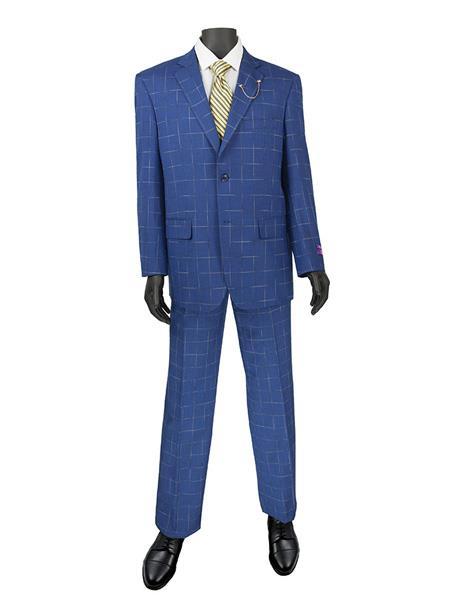 1960s Mens Suits | 70s Mens Disco Suits Mens Plaid  Window Suit 2 Button Suit Blue $140.00 AT vintagedancer.com
