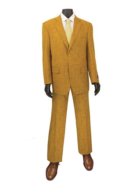 1970s Men's Suits History | Sport Coats & Tuxedos Mens Plaid  Window Suit 2 Button Suit Ginger $140.00 AT vintagedancer.com