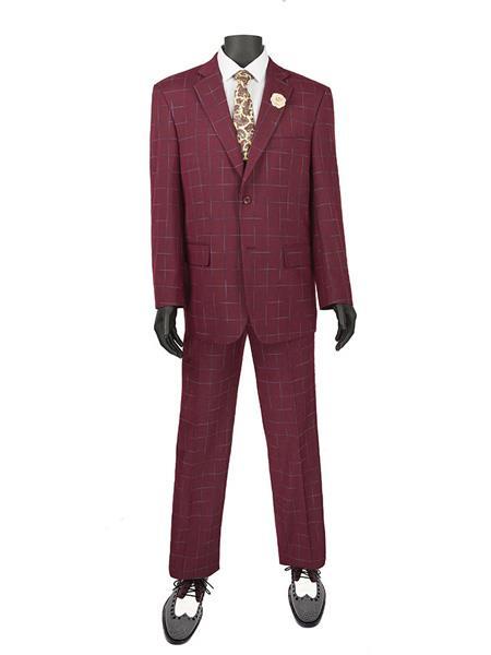 1960s Mens Suits | 70s Mens Disco Suits Mens Plaid  Window Suit 2 Button Suit Burgundy $140.00 AT vintagedancer.com