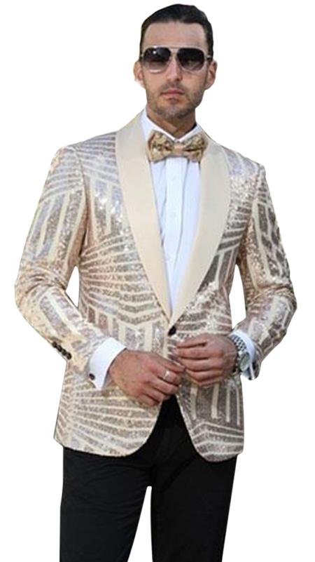 Buy GD1572 Men's Single Breasted Striped Pattern Shawl Lapel Tan Dinner Jacket