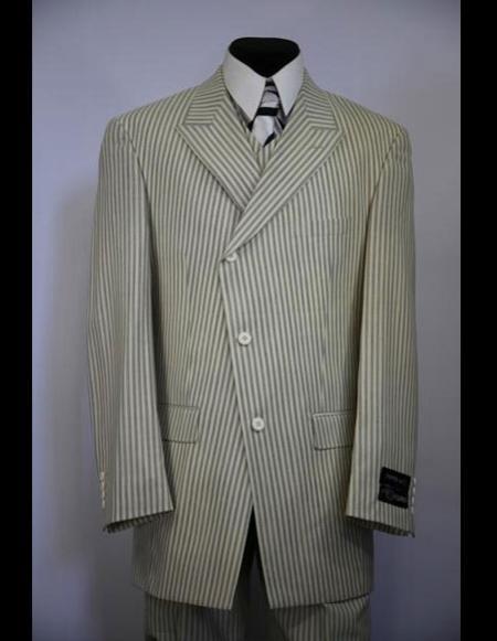 1900s Edwardian Men's Suits and Coats Mens double Breasted Wide Peak Lapel stripe zoot suit $199.00 AT vintagedancer.com