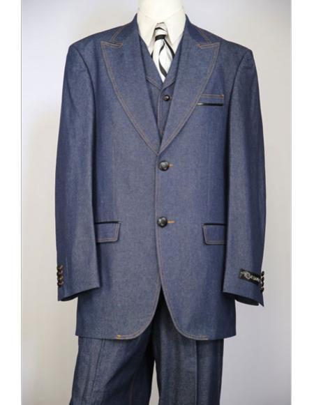 1960s Mens Suits | 70s Mens Disco Suits Mens navy blue brass  faux leather accents denim 3pc zoot suit $199.00 AT vintagedancer.com