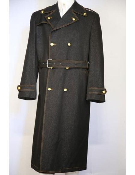 60s 70s Men's Jackets & Sweaters Mens Black stylish trench collar Double Breasted denim long zoot suit $175.00 AT vintagedancer.com