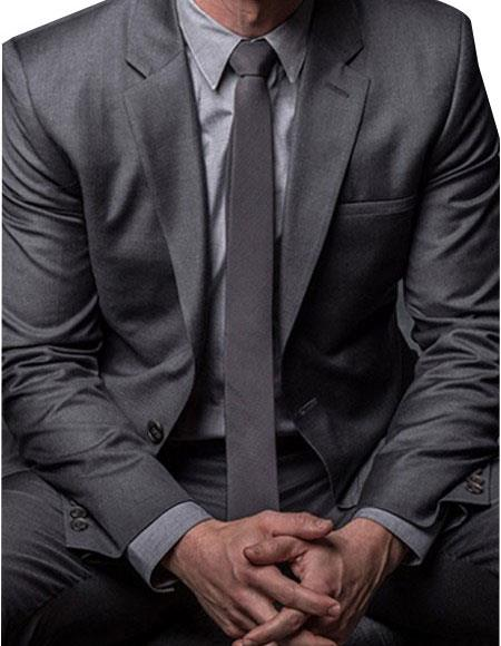 Mens Dark Grey 2 Button Fully Lined Suit