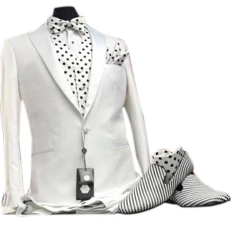 Buy CH2489 Mens Peak Lapel white vested tuxedo suit paired striped loafer dress shoes