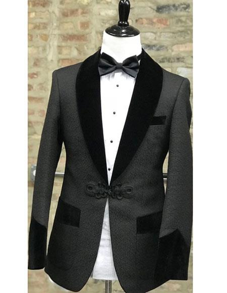 Mens Single Breasted 1 Button Black Shawl Lapel Tuxedo
