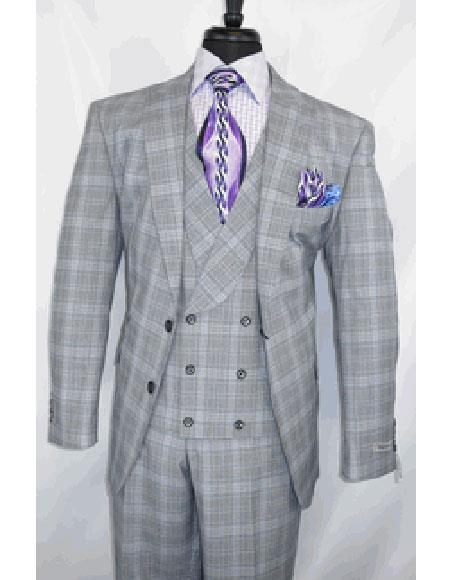 Buy GD1638 Men's Grey 2 Button Single Breasted Plaid Pattern Modern Fit Suit