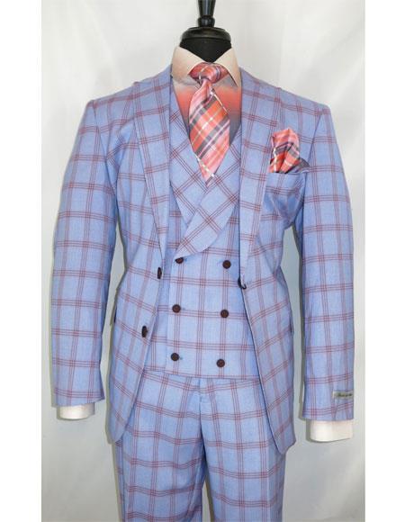 Buy GD1639 Men's Modern Fit Blue 2 Button Side Vents Plaid Pattern Suit
