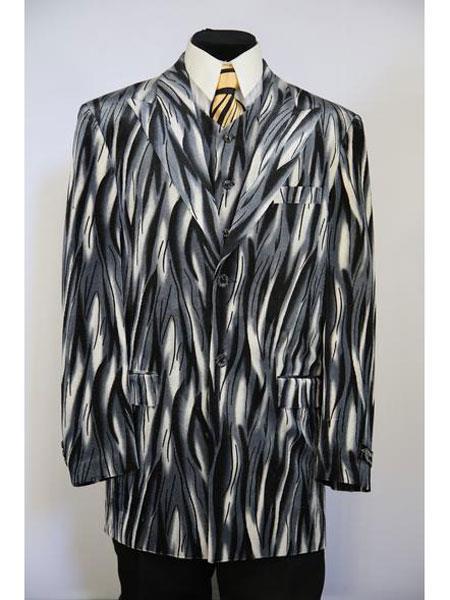 Buy JA01 mens Peak Lapel 3pc vested Flames designed zoot suit Grey