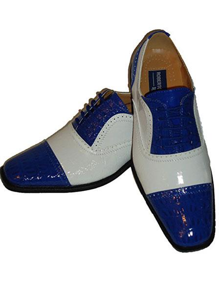 GD1649 Men's Two Tone Lace White~Royal Blue Fashion Dress Shoes