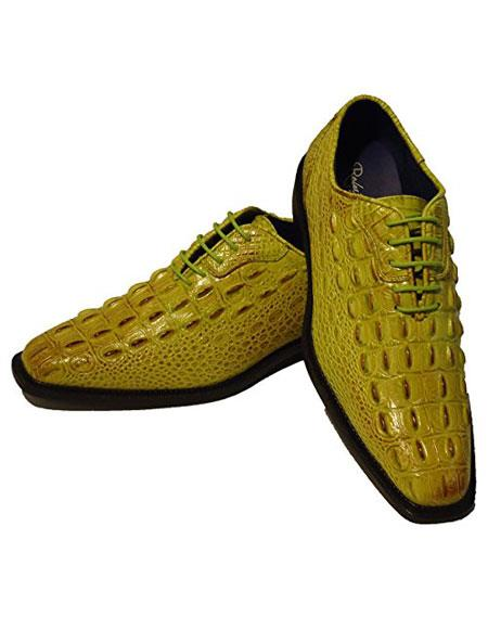 Light Green~Yellow Lace Up Oxford Dress Shoes