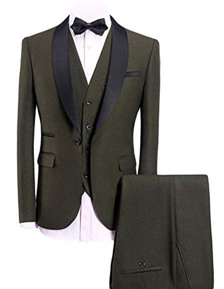 Mens Olive Green 3-Pieces Slim Fit Shawl Lapel 1 Button Vested Dress Suit