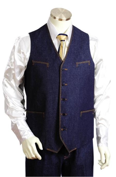 Mens 2pc Collarless Denim Vest and Pants Blue
