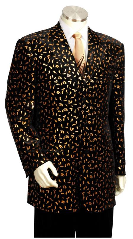 1960s Mens Suits | 70s Mens Disco Suits Mens Button Fastener 3pc Zoot Suit and Pant Black Gold $189.00 AT vintagedancer.com