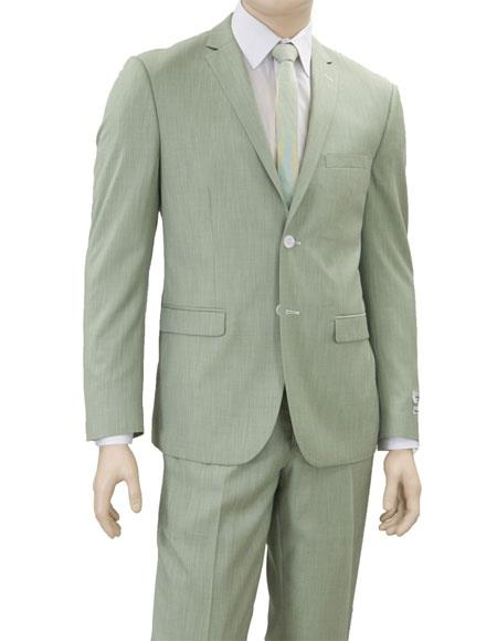 1960s Men's Clothing Mens Lorenzo Bruno Single Breasted 2 Button Green Notch Lapel Suit $140.00 AT vintagedancer.com