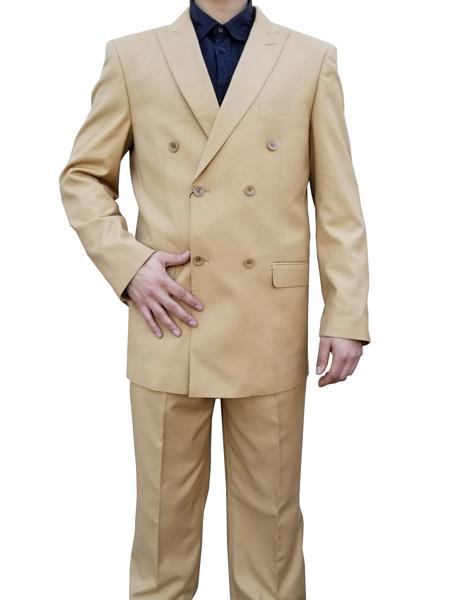 1930s Style Mens Suits Alberto Nardoni Double breasted Suit Camel $169.00 AT vintagedancer.com