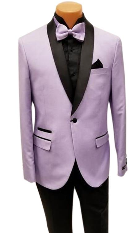 Mens One Button Shawl Lapel Lavender Prom Wedding Tuxedo Jacket & Pants Perfect for Prom & Wedding