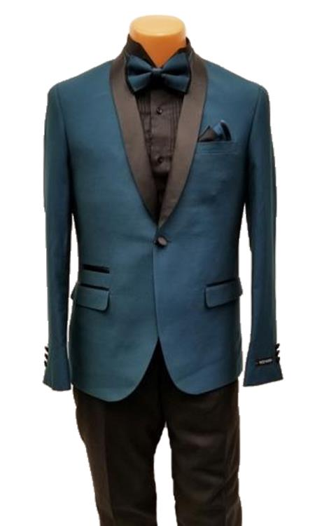 Mens One Button Shawl Lapel Teal Prom Wedding Tuxedo Jacket & Pants Perfect for Prom & Wedding