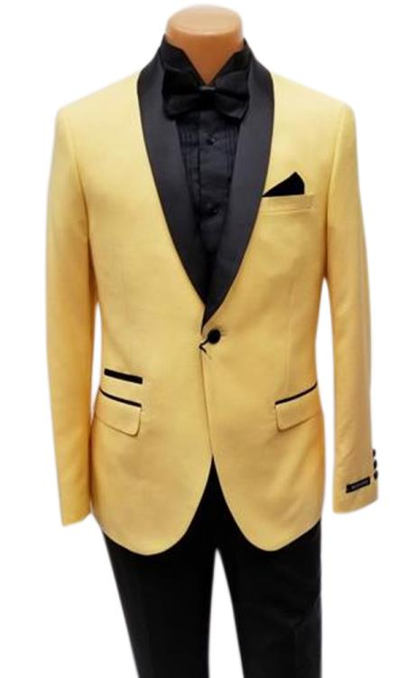 Mens One Button Shawl Lapel Yellow Prom Wedding Tuxedo Jacket & Pants Perfect for Prom & Wedding