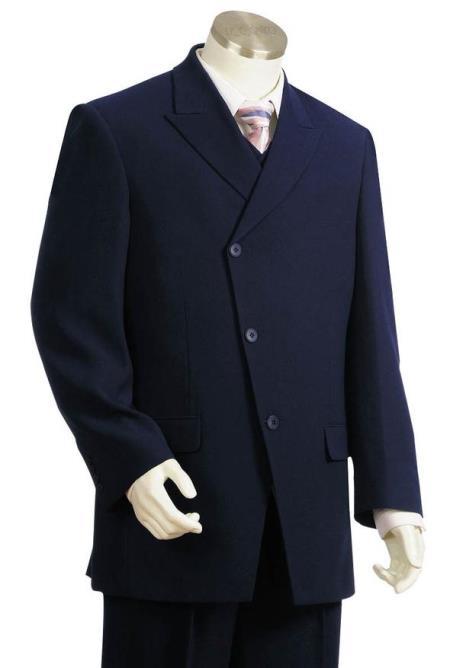 Men's Vintage Style Suits, Classic Suits Mens Peak Lapel Flap Pocket Single Breasted Navy Blue Zoot Suit $189.00 AT vintagedancer.com