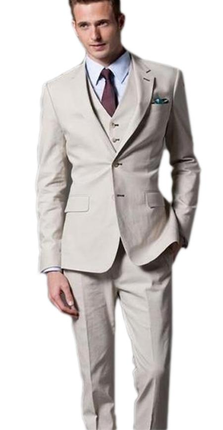 Single breasted 2 button notch lapel skinny fit 3 piece beige wedding suit for men