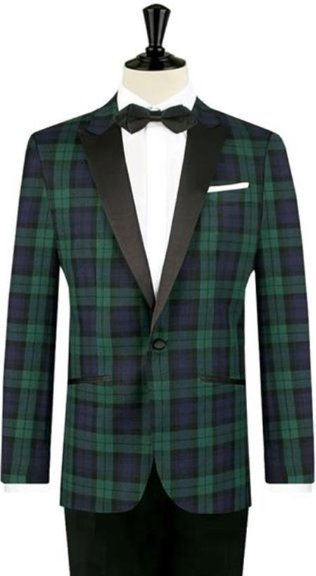 Mens One Button Tartan Designed Slim Fit Tuxedo
